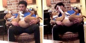 Woman Catches Doggo Red-Handed As He Steals A Kiss From Her Boyfriend!